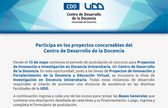 ¡Atención Docentes! Participa en los proyectos concursables del Centro de Desarrollo de la Docencia