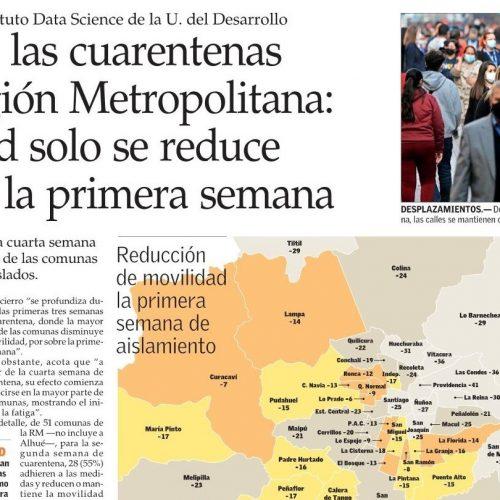 Fatiga de las cuarentenas en la Región Metropolitana: movilidad solo se reduce 25% tras la primera semana